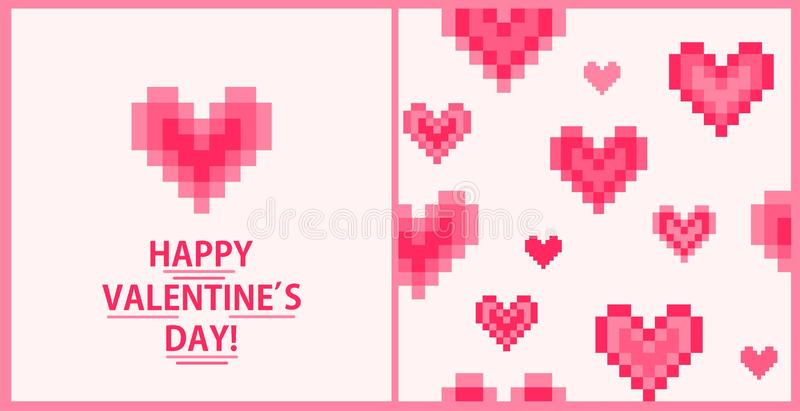 Greeting card and fashion seamless wallpaper with geometric hot pink pulsing hearts print for Valentine's day. Greeting card and fashion seamless royalty free illustration