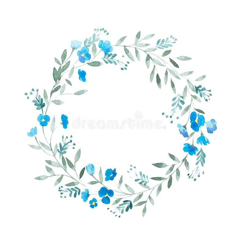 Greeting card floral frame decoration. Watercolor wreath of blue flowers isolated on white background. vector illustration