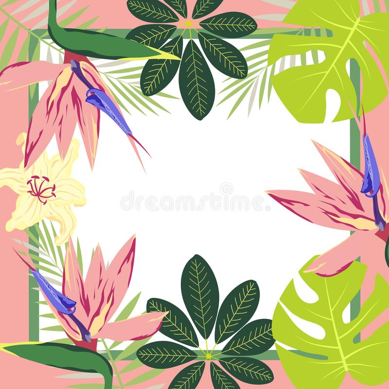 Festive frame with flowers stock illustration