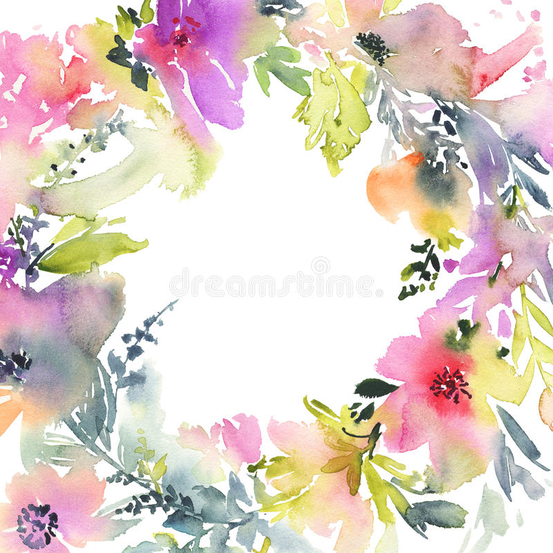 Greeting card with flowers pastel colors handmade watercolor download greeting card with flowers pastel colors handmade watercolor stock illustration illustration m4hsunfo Image collections