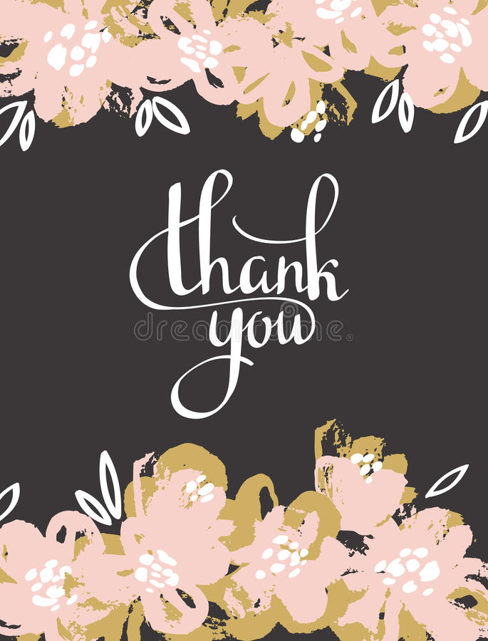Greeting card flowers - Thank you. Vector hand painting. royalty free illustration