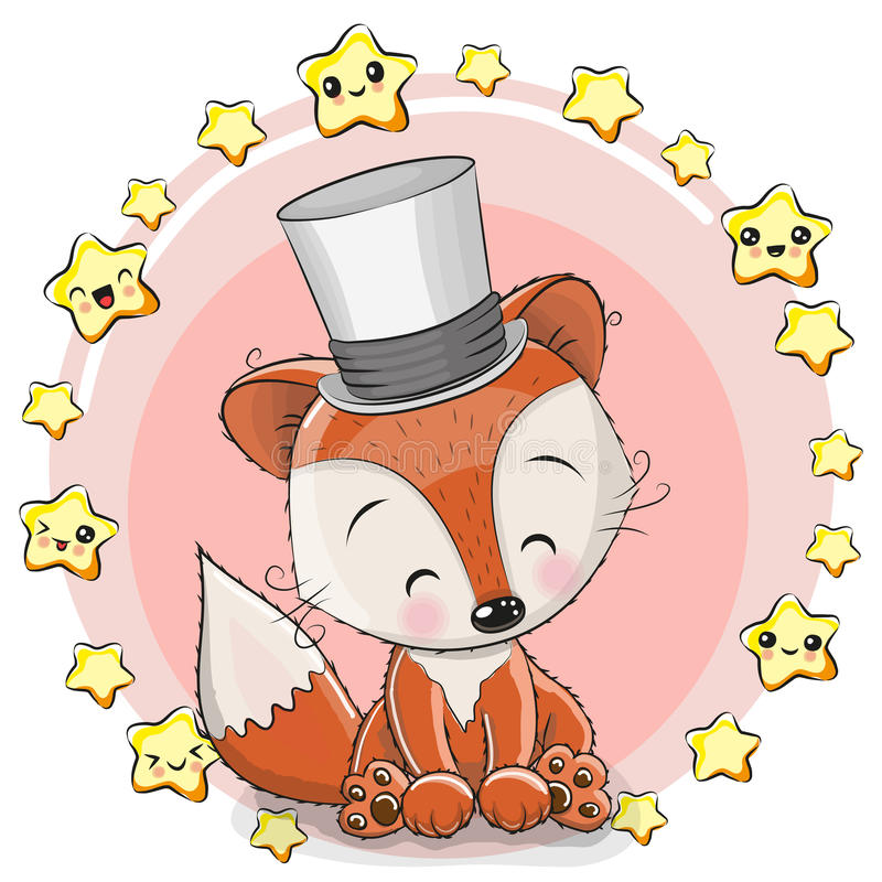 Greeting card Fox with stars vector illustration