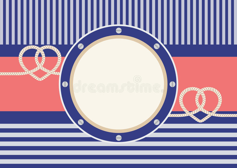 Greeting card with frame and heart shaped ropes royalty free stock photo