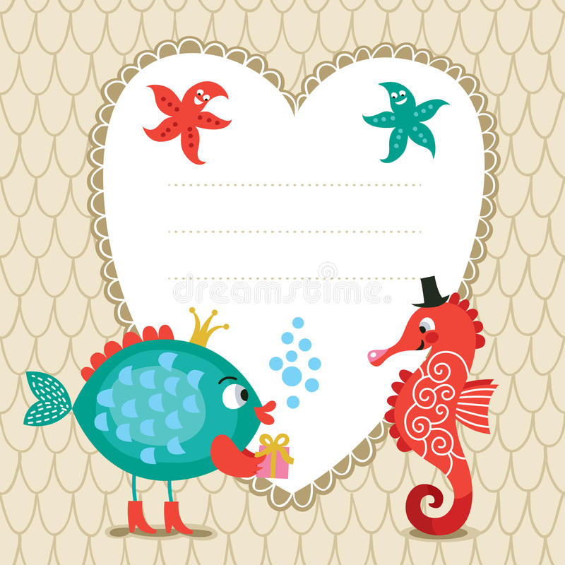 Greeting card, frame for text vector illustration