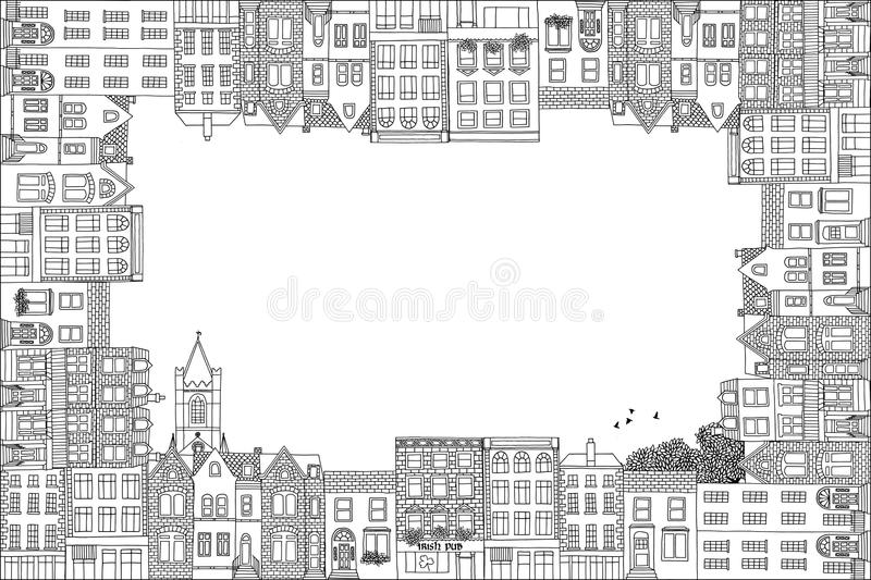 Greeting card frame with Victorian houses vector illustration