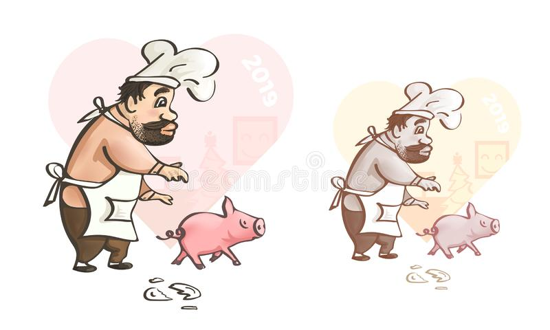 Greeting card. Fun art of chef with pig royalty free illustration
