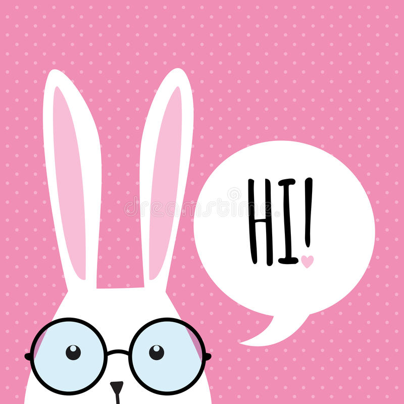 Greeting card with funny bunny. Easter Bunny Ears. vector illustration