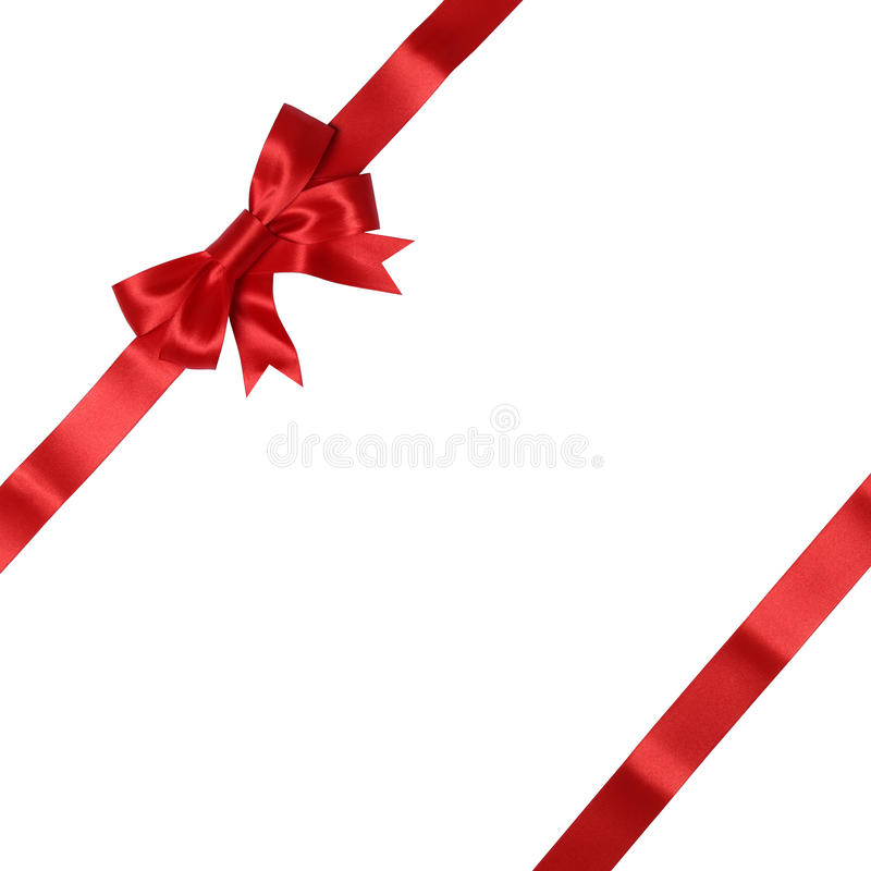 Greeting card on gift with bow for gifts on Christmas or Valenti royalty free stock photo
