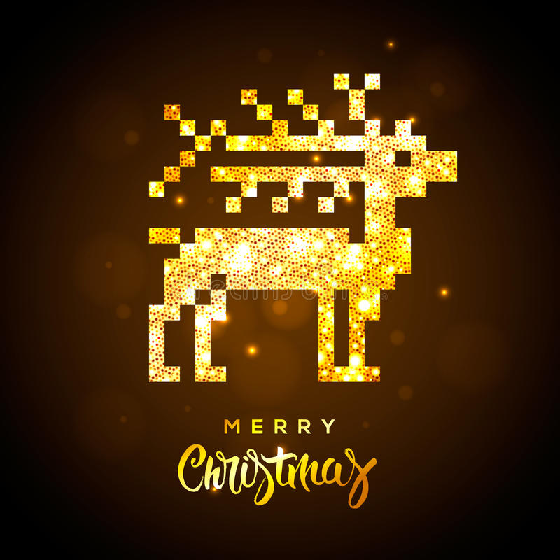 Greeting card with gold shiny reindeer stock illustration