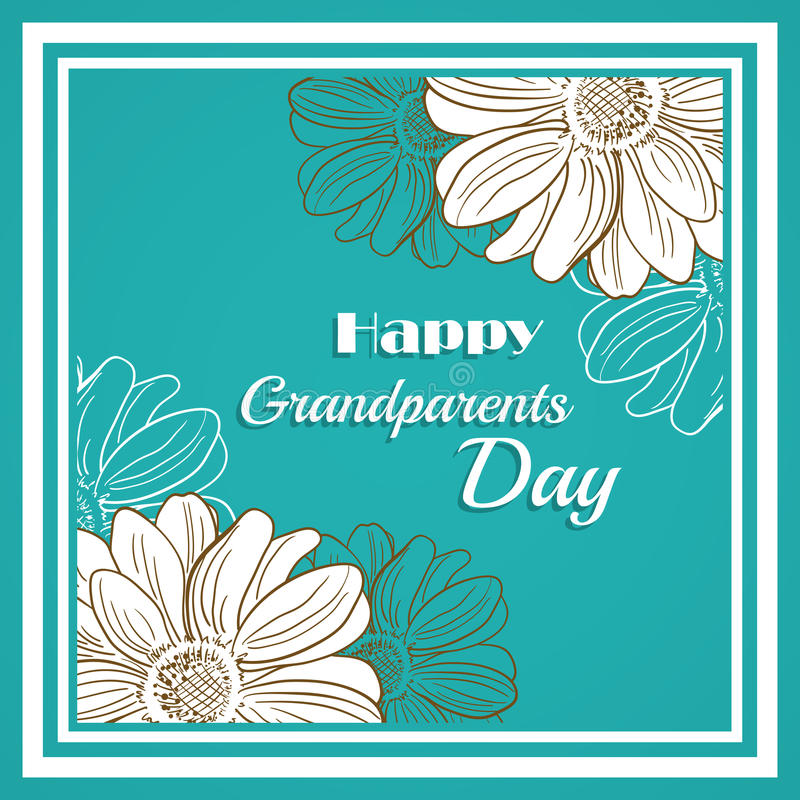 Greeting Card For Grandparents Day. Green colored greeting card with flowers and Happy Grandparents Day words vector illustration
