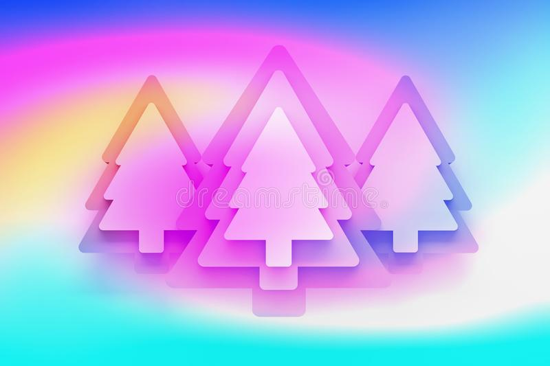 Greeting card with green Christmas trees colored with vivid colorful gradient stock illustration