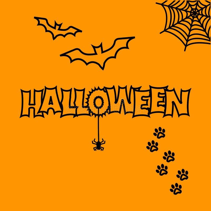 Greeting card for Halloween. Bats, cobweb, spider, cat paw track. Vector. Greeting card for Halloween. Bats, cobweb, spider, cat paw track Vector illustration stock illustration
