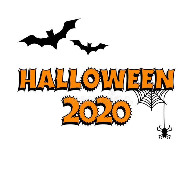 Greeting card for Halloween 2020. Bats, cobweb, spider. Vector. Greeting card for Halloween 2020. Bats, cobweb, spider Vector illustration vector illustration