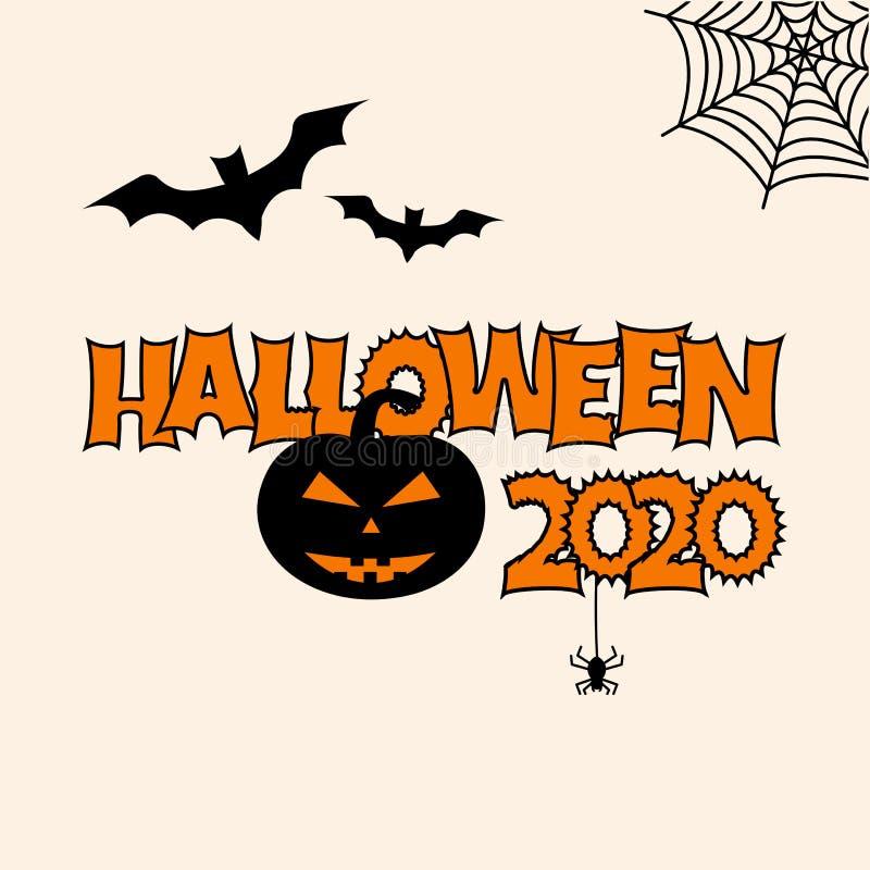 Greeting card for Halloween 2020. Bats, pumpkin, cobweb, spider. Vector. Greeting card for Halloween 2020. Bats, pumpkin, cobweb spider Vector illustration stock illustration