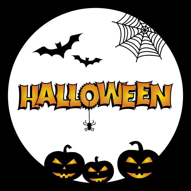 Greeting card for Halloween. Bats, pumpkins, cobweb, spider, moon. Vector. Greeting card for Halloween. Bats, pumpkins, cobweb, spider moon Vector illustration stock illustration