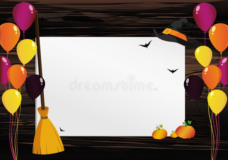 Greeting card for Halloween. Creative frame with a pumpkin broom vector illustration