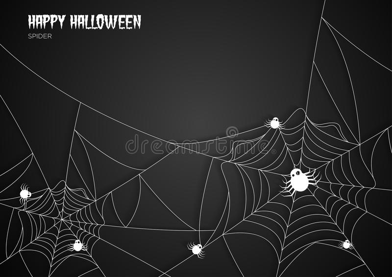Greeting card Halloween night spiders web background vector illustration