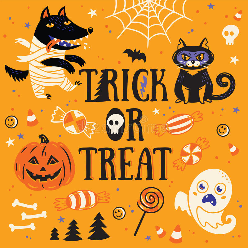 Greeting card for Halloween. Trick or treat. Vector illustration. Halloween Poster or Greeting card with cartoon wolf mummy, pumpkin, cat and sweets. Trick or royalty free illustration