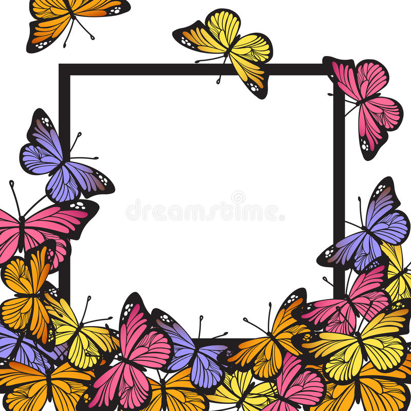 Download Greeting Card With Hand Drawn Butterflies And Black Simple Frame On White Background. Vector Stock Vector - Image: 92599370