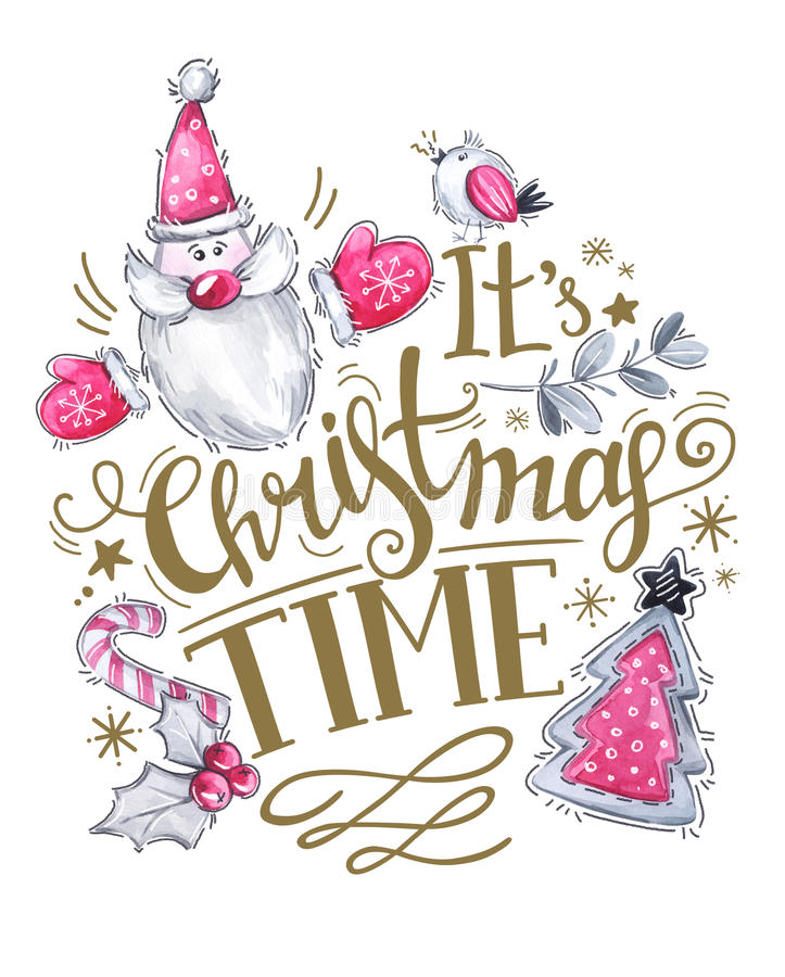 Greeting card of hand-drawn lettering, watercolor Santa with tree and holidays decorations. vector illustration