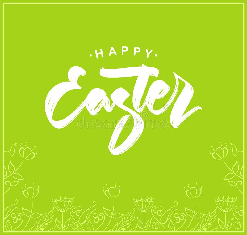 Greeting card with handwritten lettering of Happy Easter and hand drawn floral frame on green background. royalty free illustration