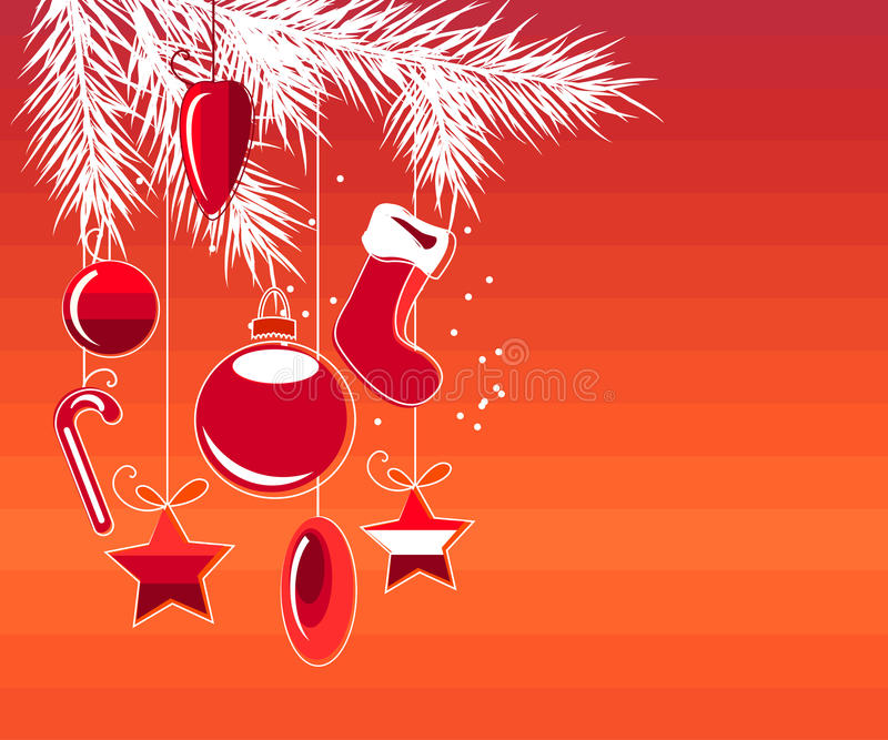 Greeting card with hanging Christmas decoration stock illustration