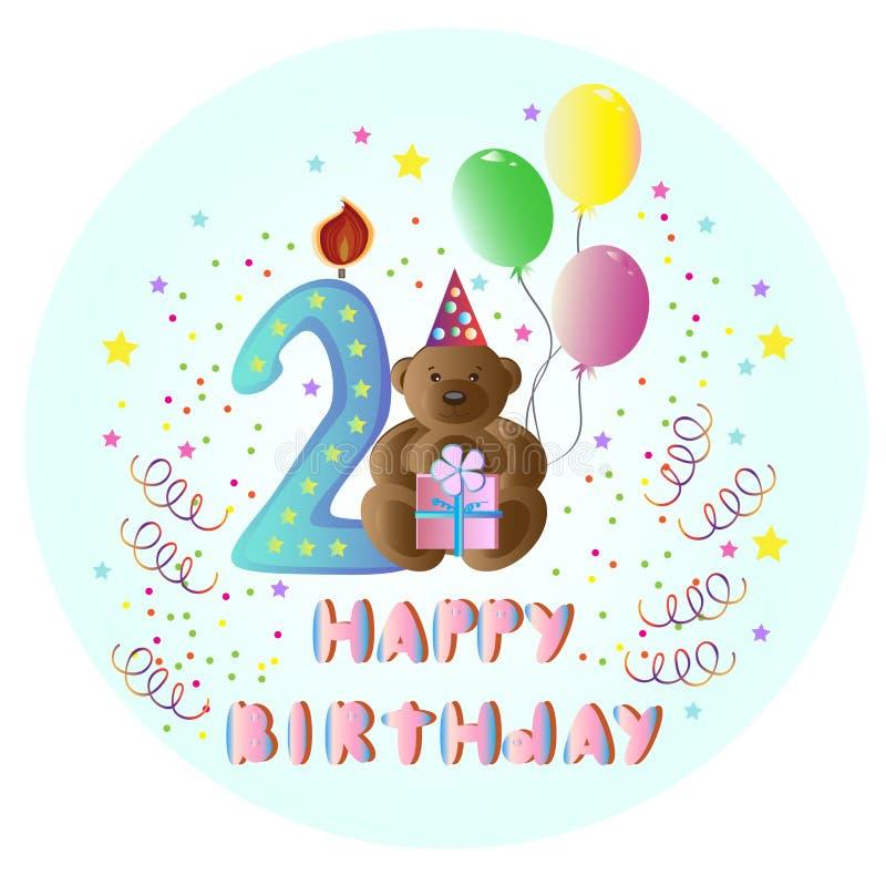 Greeting card Happy Birthday with bear royalty free illustration