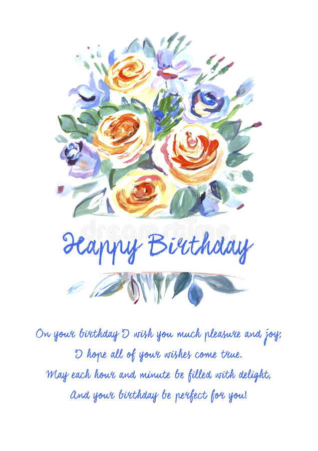 Greeting Card Happy Birthday With Beautiful Stock Vector