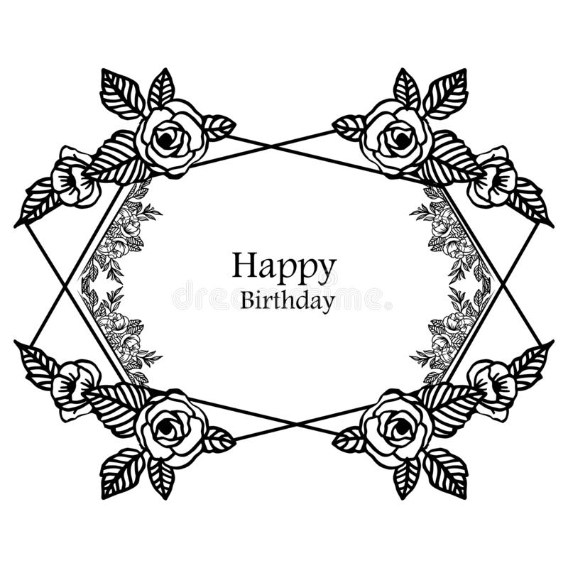 Greeting card happy birthday, beautiful crowd of flower frame, isolated on a white backdrop. Vector stock illustration