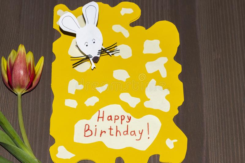 Greeting card happy birthday grandma. Grandson to grandmother did it manually. royalty free stock images