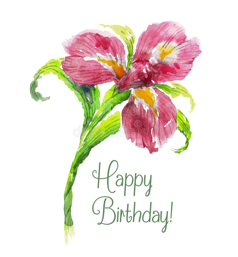 greeting card happy birthday with red watercolor stock