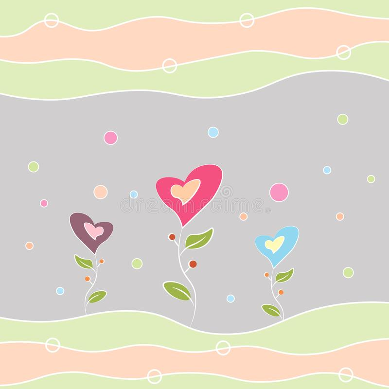 Greeting card happy birthday, Valentine s Day and other holidays multi-colored flowers in the shape of a heart stock illustration