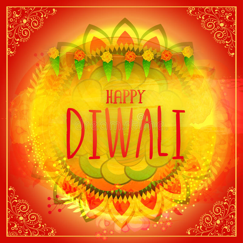 Greeting card for Happy Diwali celebration. Beautiful creative greeting card decorated with colourful floral design for Indian Festival of Lights, Happy Diwali royalty free illustration