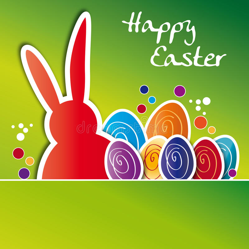 Greeting card happy easter, colorful Easter eggs vector illustration