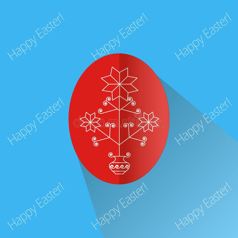 Greeting card Happy Easter, inscriptions on a blue. Bright red Easter egg with white traditional ukrainian ornaments stock illustration