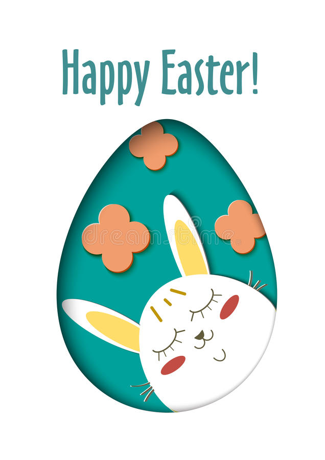 Greeting card with Happy Easter - rabbit and egg. Funny Bunny spring holiday cartoon. Vector cut out paper symbol in. Oval as egg royalty free illustration