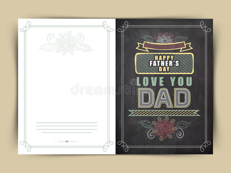 Greeting card for Happy Fathers Day celebration. stock illustration