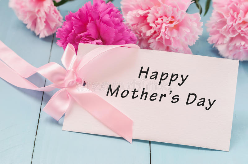 Greeting card with Happy Mother`s Day stock photo