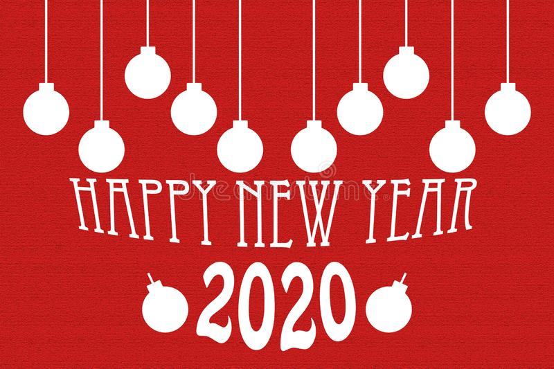 Greeting Card. Happy New Year 2020. Christmas balls. royalty free stock photography