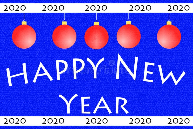 Greeting Card. Happy New Year 2020. Christmas balls. Minimalism royalty free stock photo