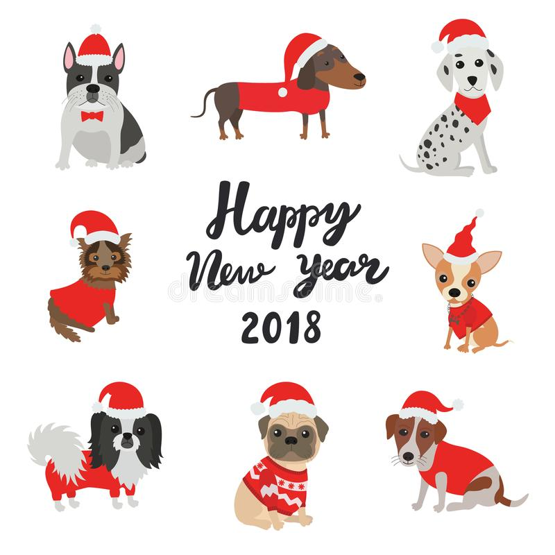 Greeting card for 2018. Happy new year. Dogs in costumes Santa Claus vector illustration