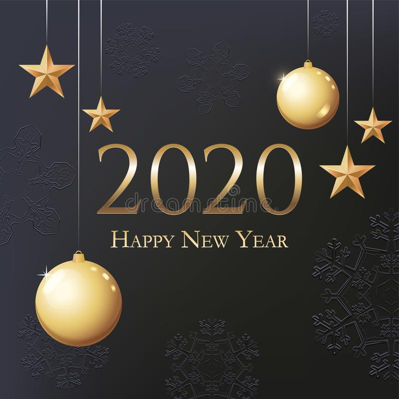 Greeting Card 2020 Happy New Year. Illustration with gold Christmas balls, stars and place for text. Flyer, poster, invitation or stock images