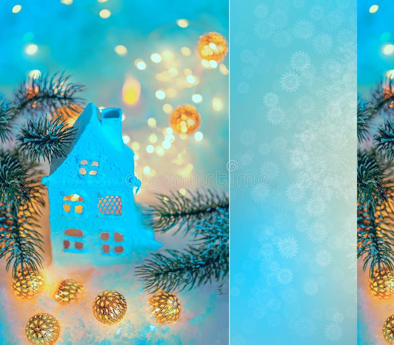 Greeting card Happy New Year and Merry Christmas. Beautiful background of winter decoration for the holiday. Mockup, copy space royalty free illustration