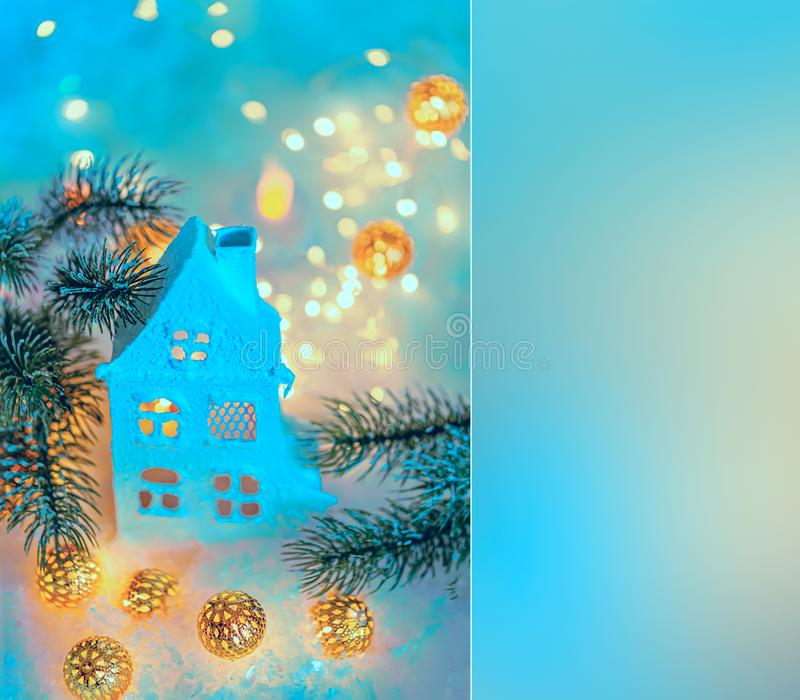 Greeting card Happy New Year and Merry Christmas. Beautiful background of winter decoration for the holiday. Mockup. Top view royalty free stock photo