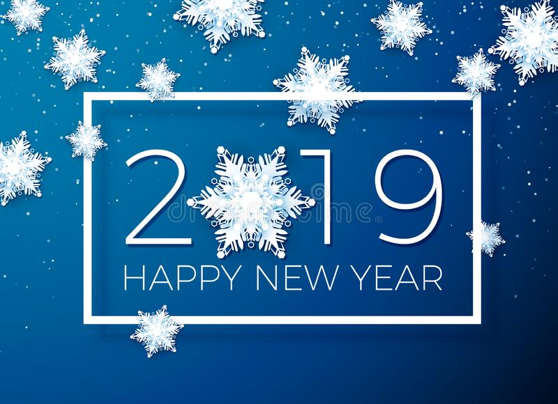 Greeting card Happy New Year 2019. Paper snowflakes on background of text in a white frame. Vector illustration royalty free illustration