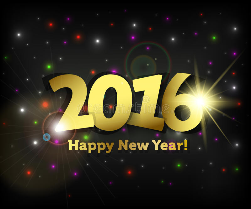 Greeting card 2016 Happy New Year royalty free illustration