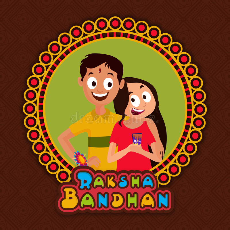Greeting Card For Happy Raksha Bandhan. Stock Illustration ...