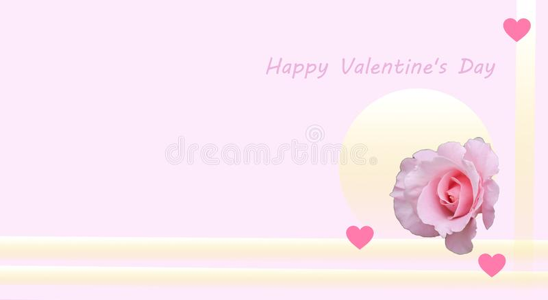 Greeting card happy  St. Valentine Day. Delicate pink rose and a few little hearts in the background of pastel tones. stock illustration