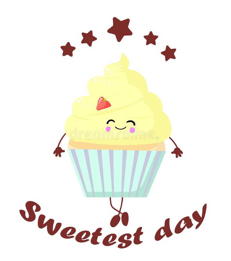 Greeting card. Happy sweets cupcake or muffin horn with eyes and a smile vector illustration