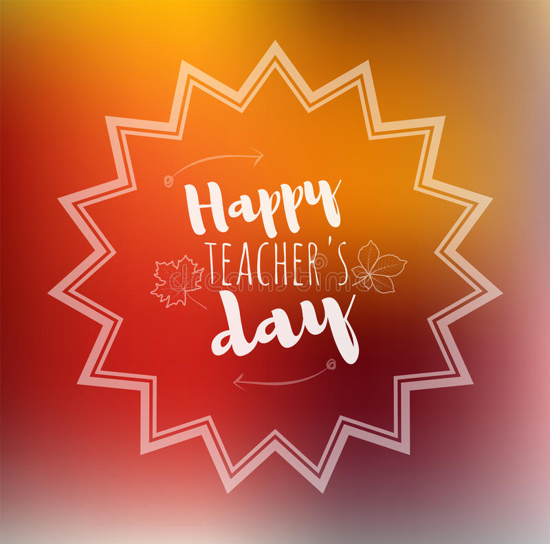 Greeting card happy teachers day orange back vector illustration